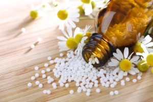 Homeopathic medication with chamomile globules